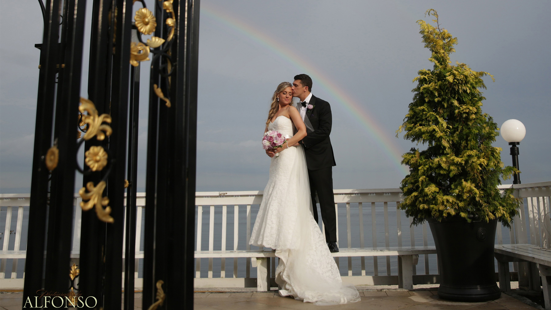 Married Couple Posing at Westchester Wedding Venue